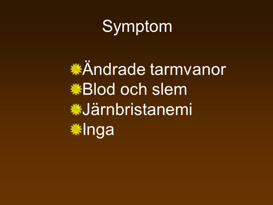 Symptom Ändrade tarmvanor Blod och slem Järnbristanemi Inga
