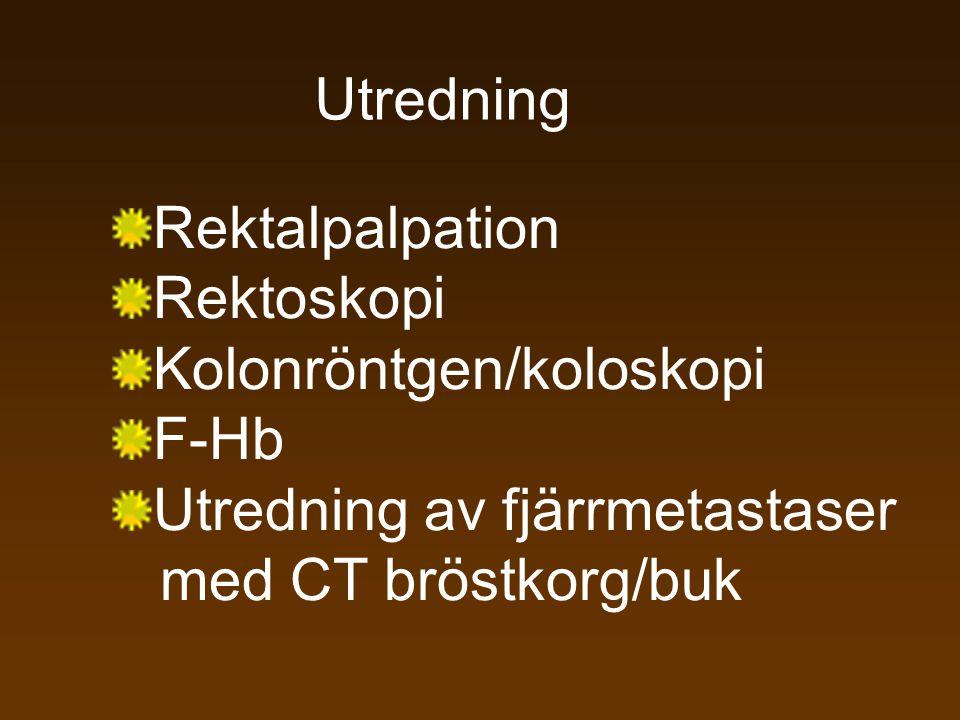 Utredning Rektalpalpation. Rektoskopi. Kolonröntgen/koloskopi. F-Hb. Utredning av fjärrmetastaser.