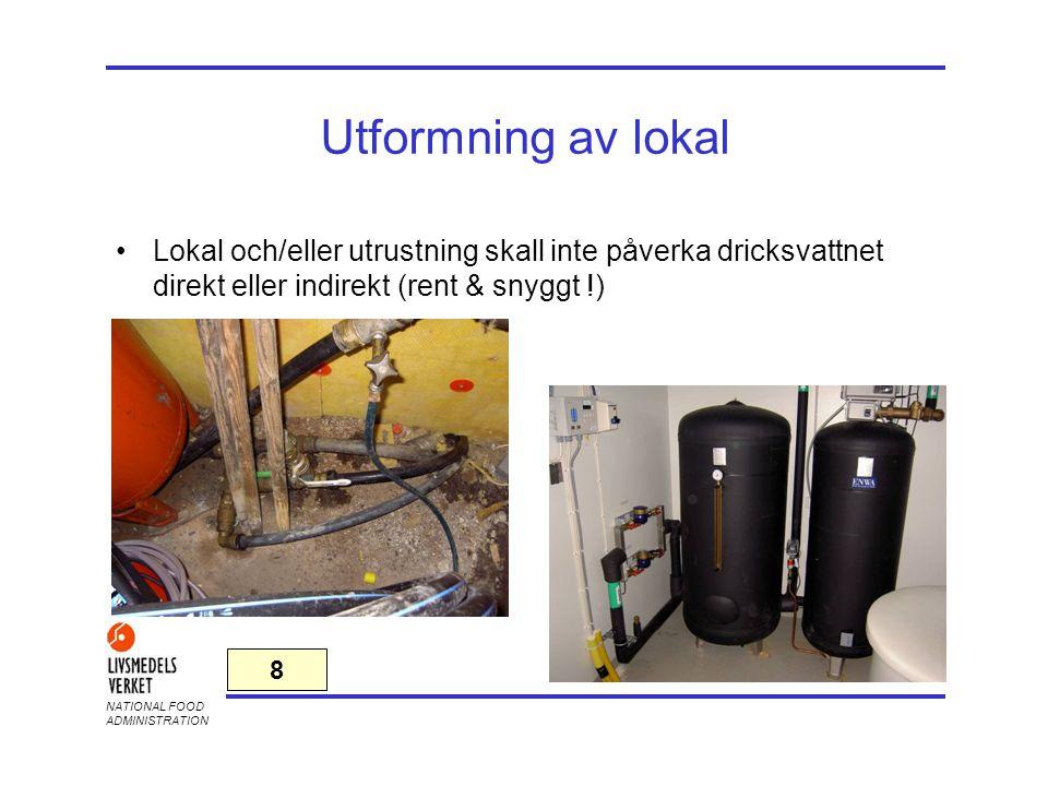 2017-04-03 Utformning av lokal. Lokal och/eller utrustning skall inte påverka dricksvattnet direkt eller indirekt (rent & snyggt !)
