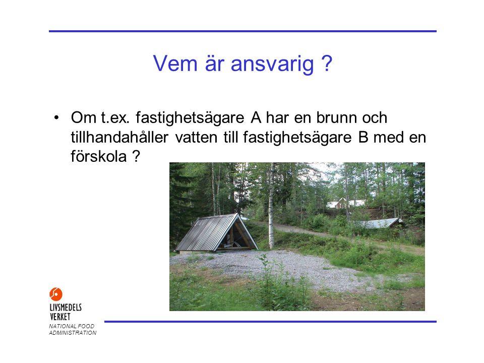 2017-04-03 Vem är ansvarig Om t.ex. fastighetsägare A har en brunn och tillhandahåller vatten till fastighetsägare B med en förskola