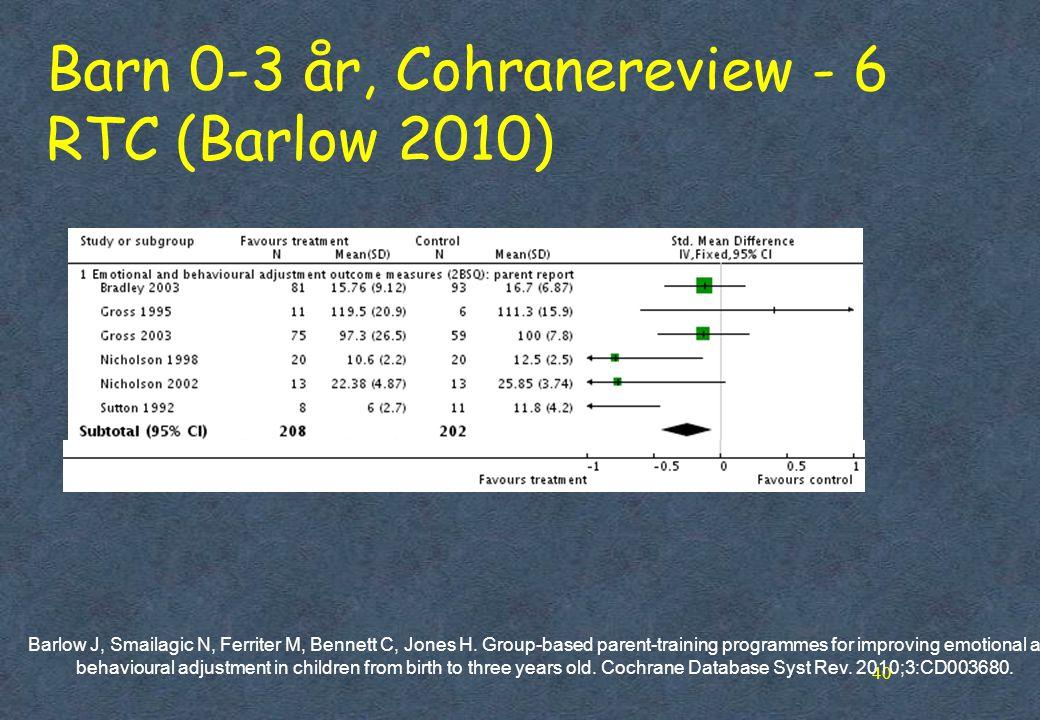 Barn 0-3 år, Cohranereview - 6 RTC (Barlow 2010)