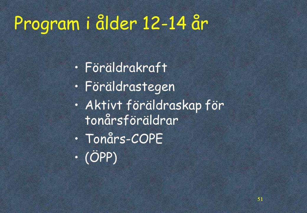 Program i ålder 12-14 år Föräldrakraft Föräldrastegen