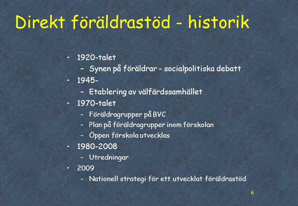 Direkt föräldrastöd - historik