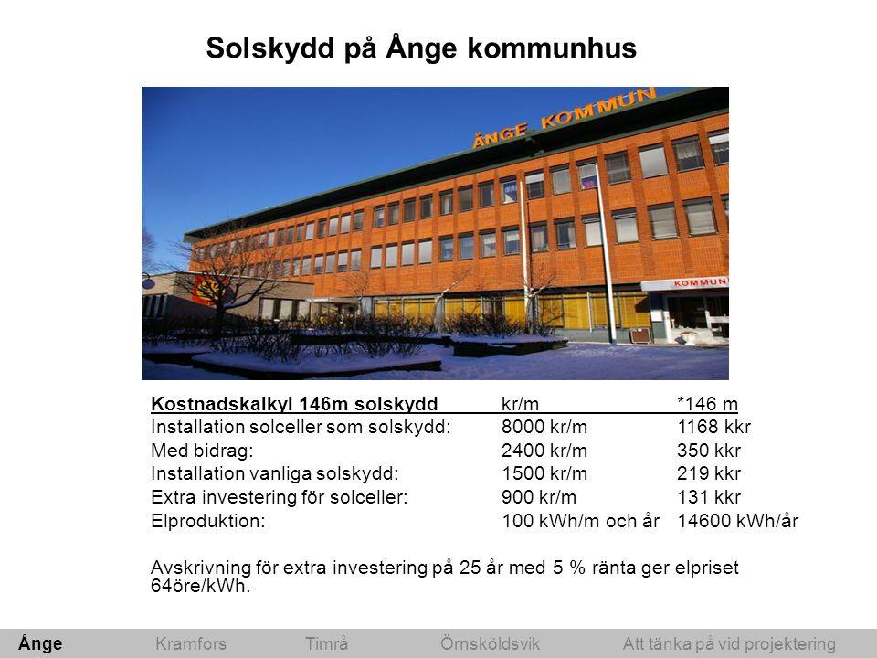 Solskydd på Ånge kommunhus