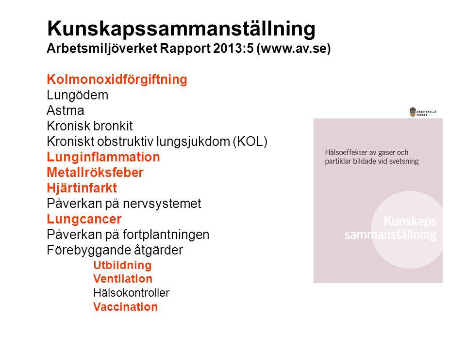 Kunskapssammanställning Arbetsmiljöverket Rapport 2013:5 (www.av.se)