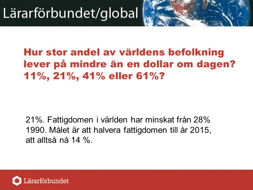 Hur stor andel av världens befolkning lever på mindre än en dollar om dagen 11%, 21%, 41% eller 61%