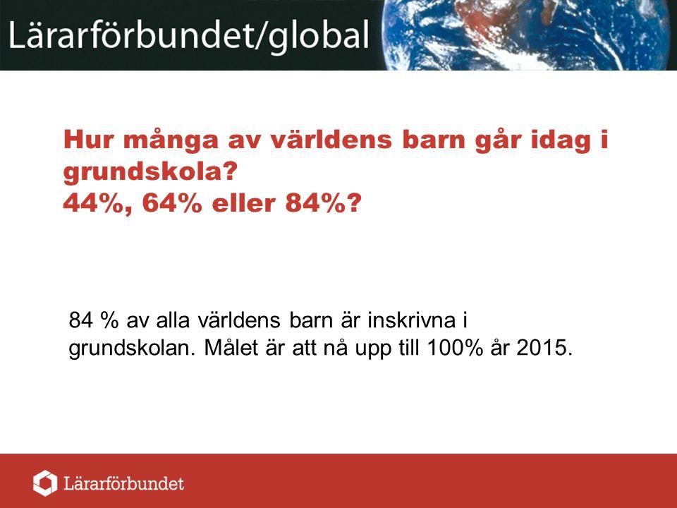 Hur många av världens barn går idag i grundskola 44%, 64% eller 84%
