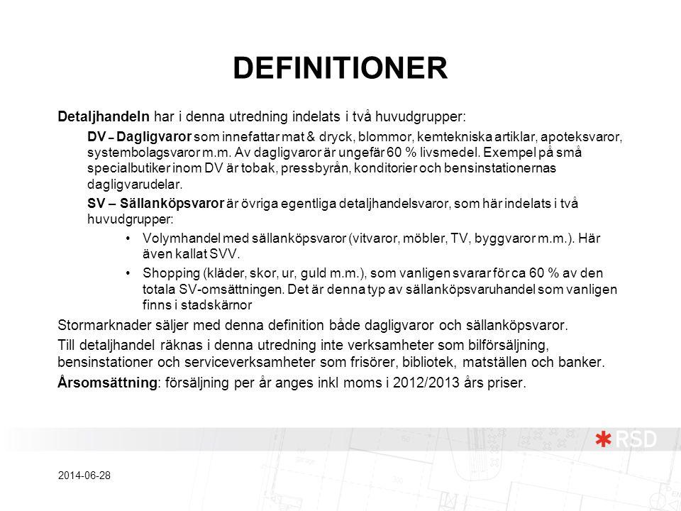 DEFINITIONER Detaljhandeln har i denna utredning indelats i två huvudgrupper: