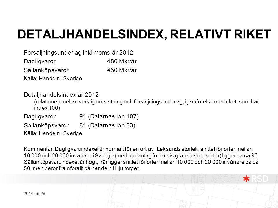DETALJHANDELSINDEX, RELATIVT RIKET
