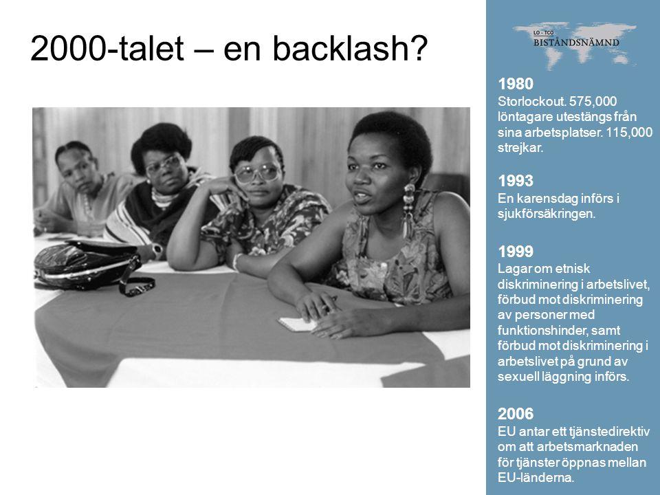 2000-talet – en backlash 1980. Storlockout. 575,000 löntagare utestängs från sina arbetsplatser. 115,000 strejkar.