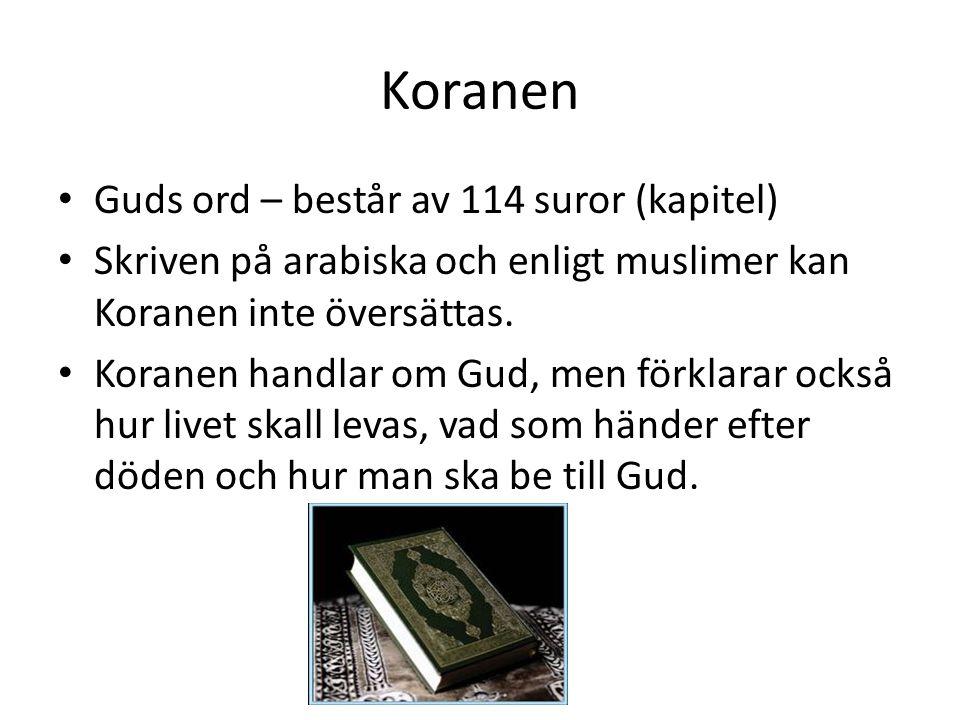 Koranen Guds ord – består av 114 suror (kapitel)