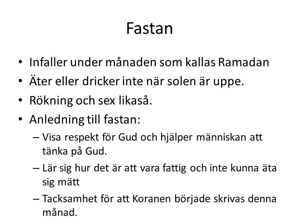 Fastan Infaller under månaden som kallas Ramadan