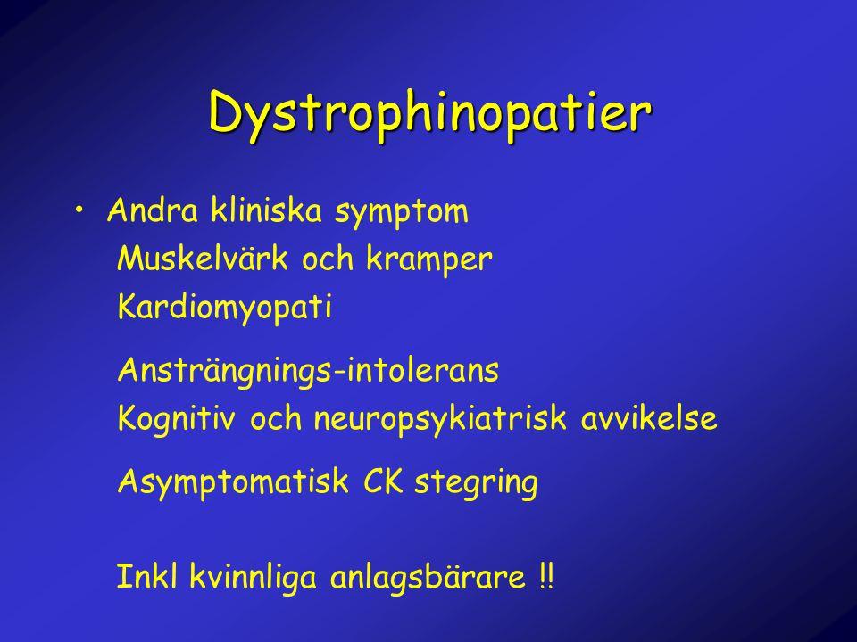 Dystrophinopatier Andra kliniska symptom Muskelvärk och kramper