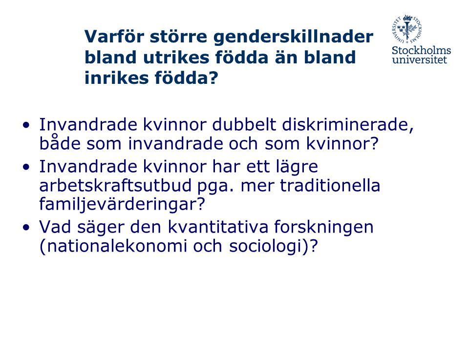 Varför större genderskillnader bland utrikes födda än bland inrikes födda