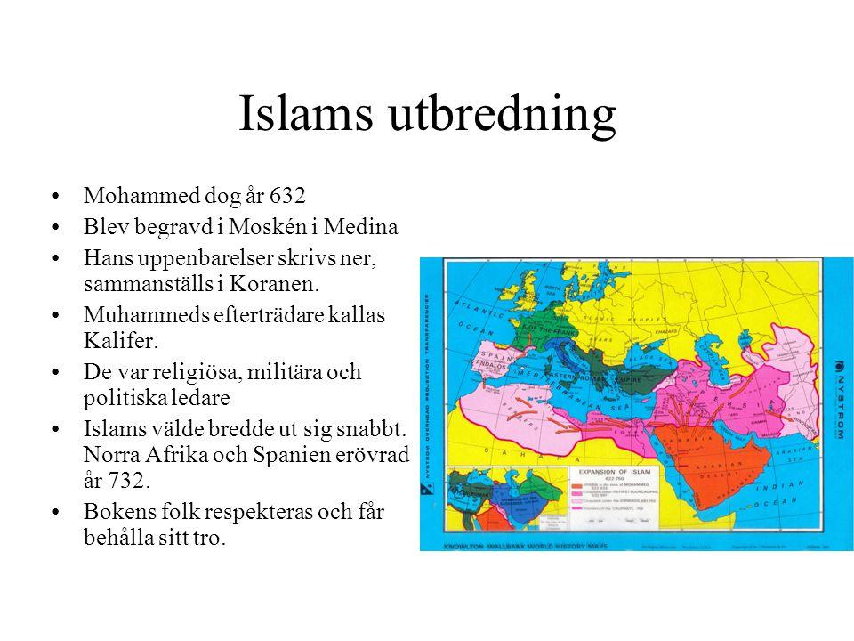 Islams utbredning Mohammed dog år 632 Blev begravd i Moskén i Medina