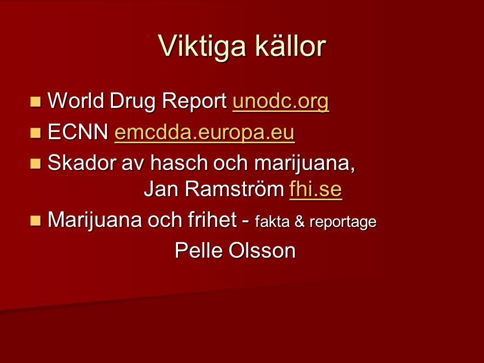 Viktiga källor World Drug Report unodc.org ECNN emcdda.europa.eu