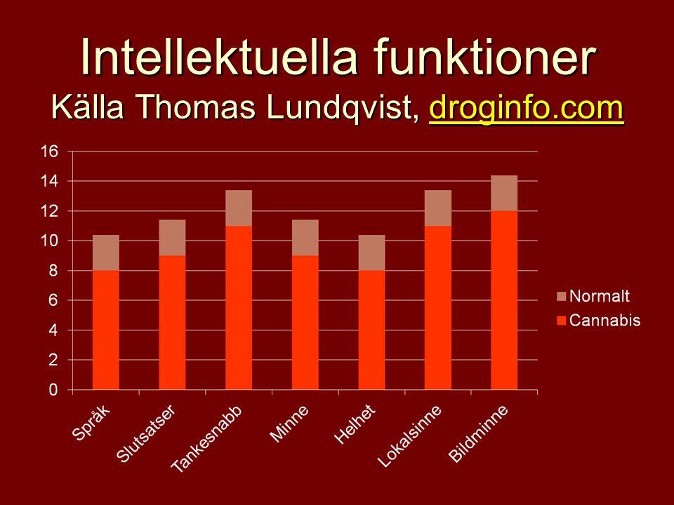 Intellektuella funktioner Källa Thomas Lundqvist, droginfo.com