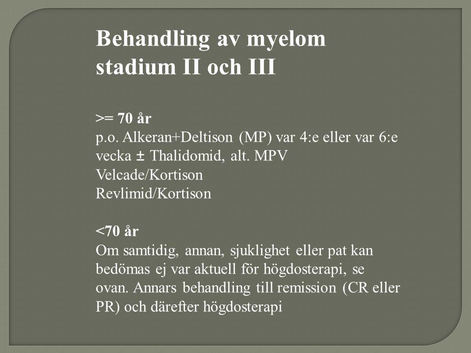 Behandling av myelom stadium II och III