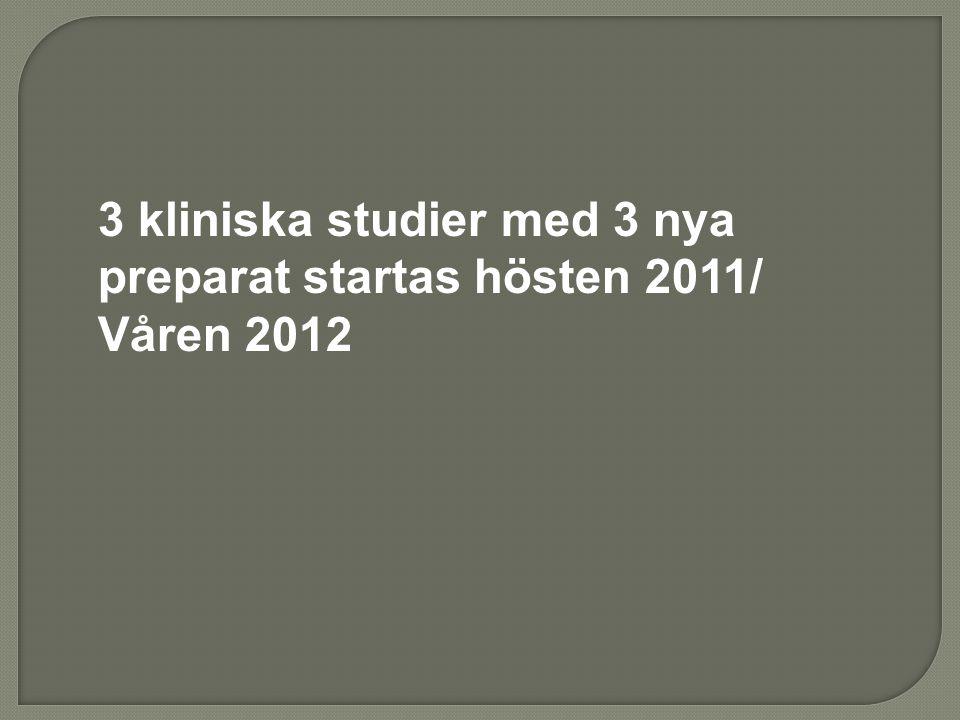 3 kliniska studier med 3 nya preparat startas hösten 2011/