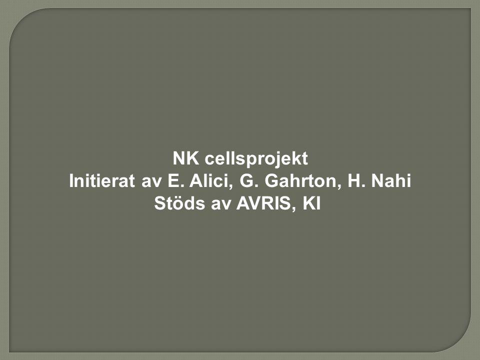 Initierat av E. Alici, G. Gahrton, H. Nahi