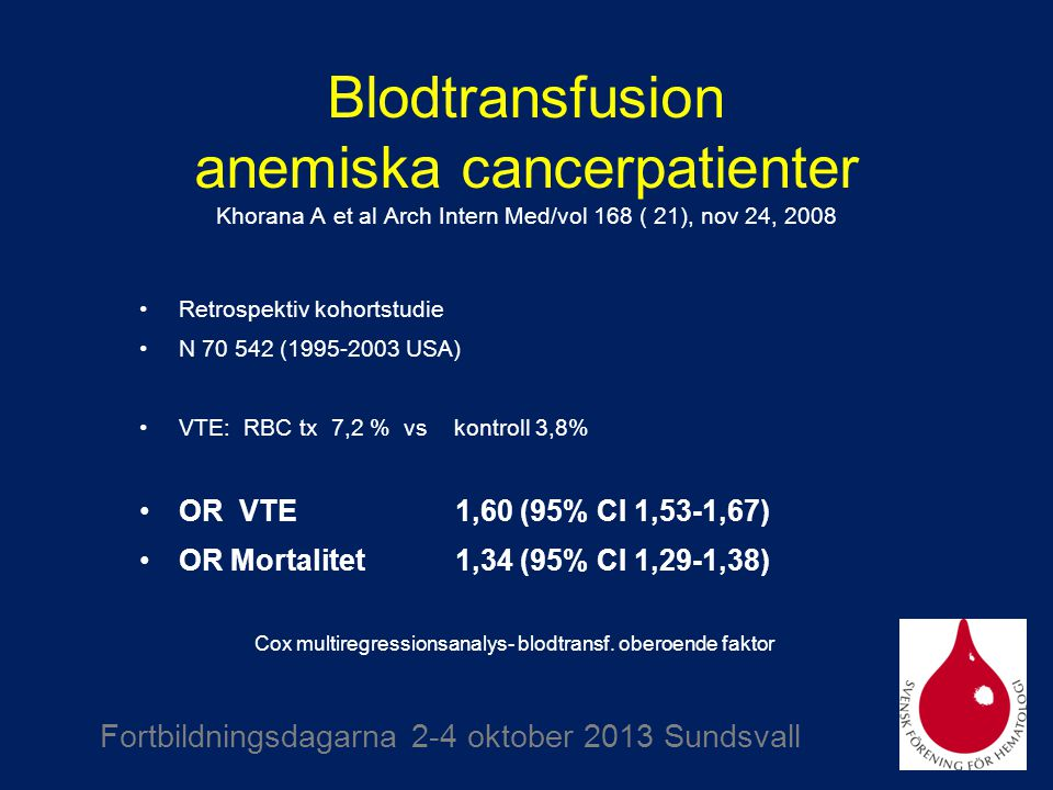 Cox multiregressionsanalys- blodtransf. oberoende faktor