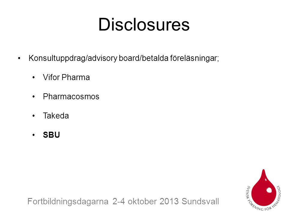 Disclosures Konsultuppdrag/advisory board/betalda föreläsningar;