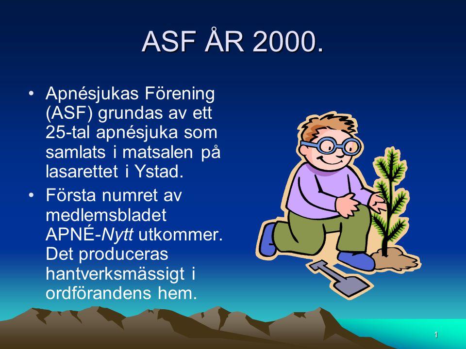 ASF ÅR 2000. Apnésjukas Förening (ASF) grundas av ett 25-tal apnésjuka som samlats i matsalen på lasarettet i Ystad.