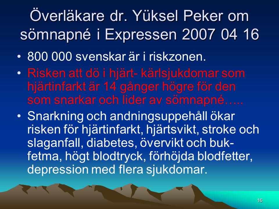 Överläkare dr. Yüksel Peker om sömnapné i Expressen 2007 04 16