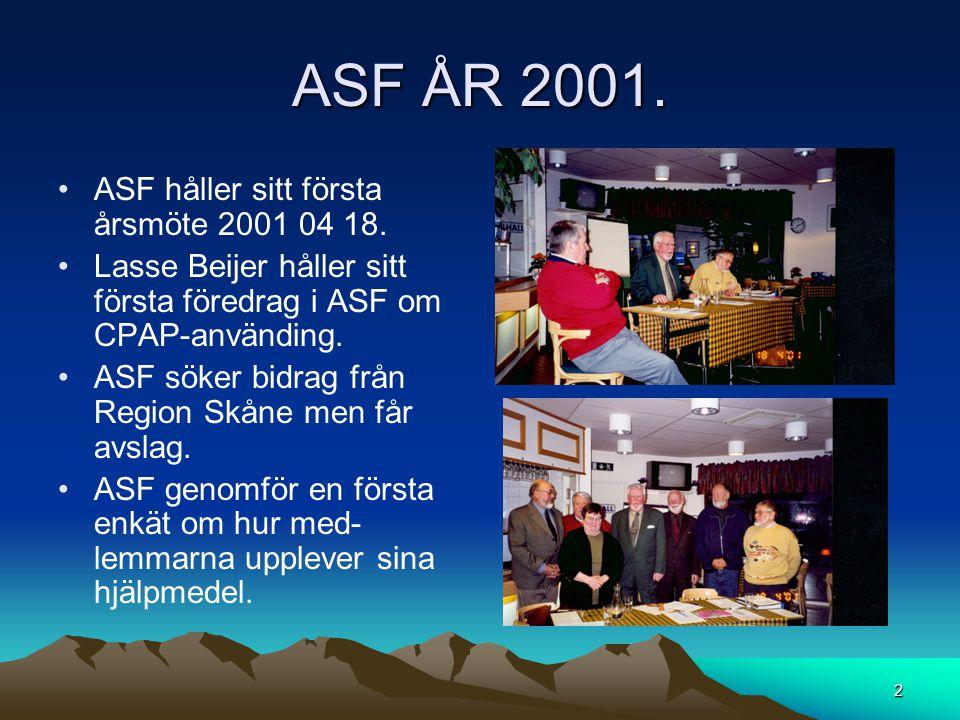 ASF ÅR 2001. ASF håller sitt första årsmöte 2001 04 18.