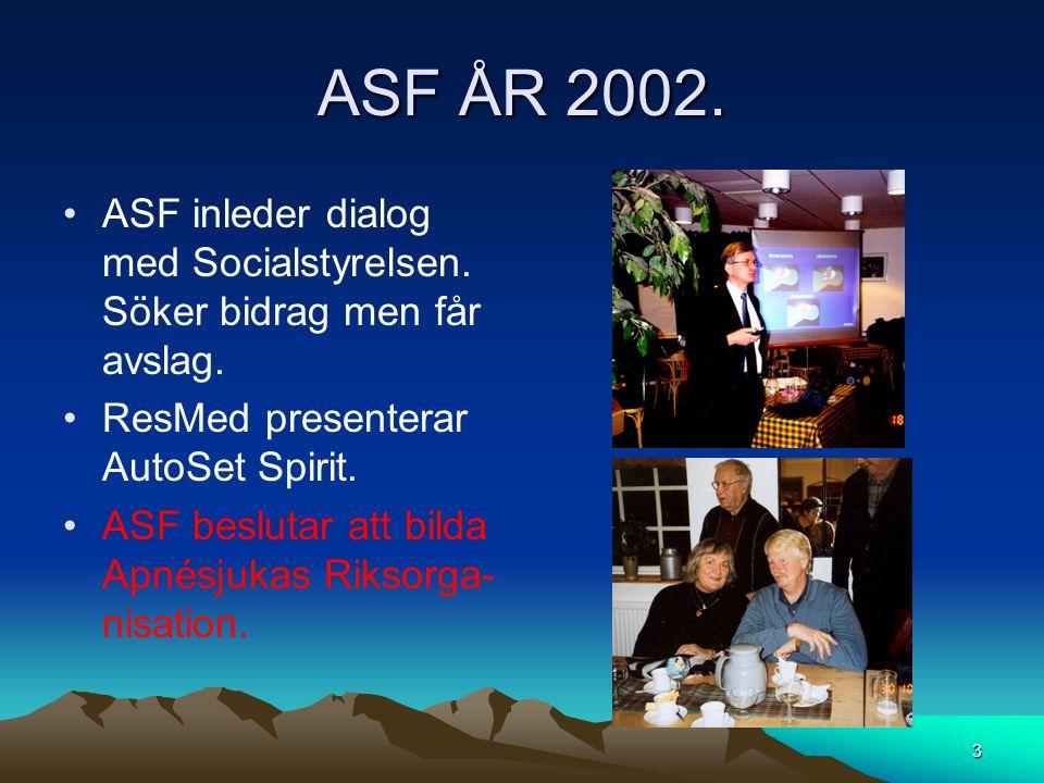 ASF ÅR 2002. ASF inleder dialog med Socialstyrelsen. Söker bidrag men får avslag. ResMed presenterar AutoSet Spirit.