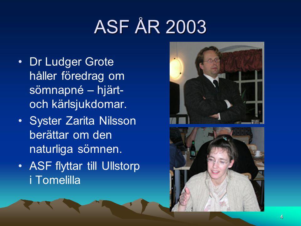 ASF ÅR 2003 Dr Ludger Grote håller föredrag om sömnapné – hjärt- och kärlsjukdomar. Syster Zarita Nilsson berättar om den naturliga sömnen.