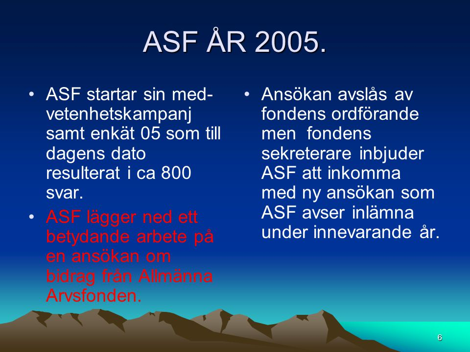 ASF ÅR 2005. ASF startar sin med-vetenhetskampanj samt enkät 05 som till dagens dato resulterat i ca 800 svar.