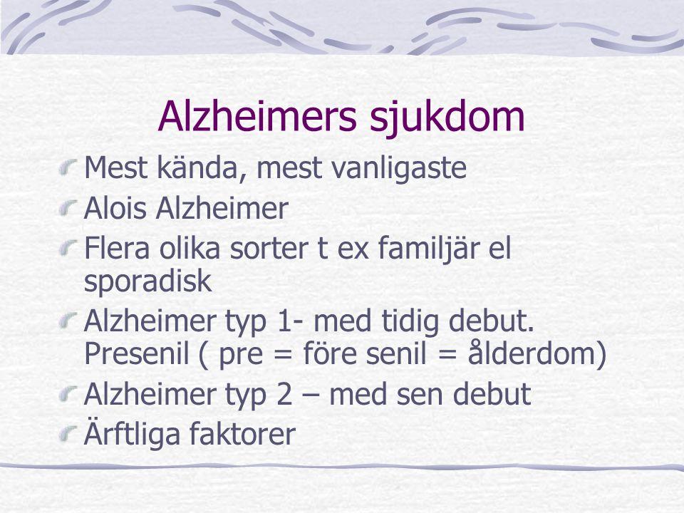 Alzheimers sjukdom Mest kända, mest vanligaste Alois Alzheimer