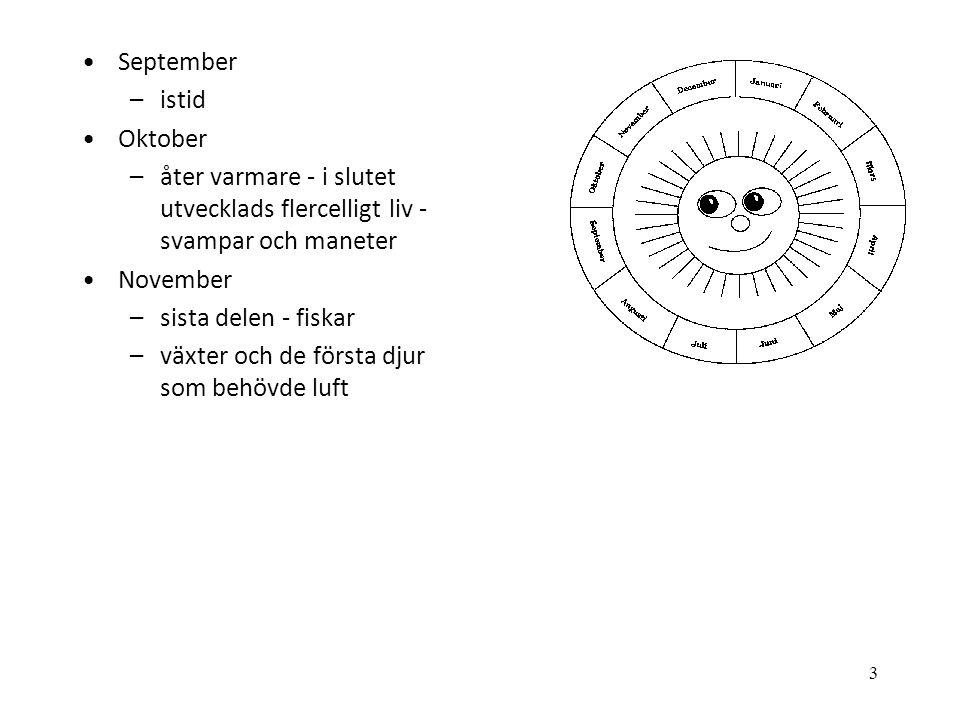 September istid. Oktober. åter varmare - i slutet utvecklads flercelligt liv - svampar och maneter.