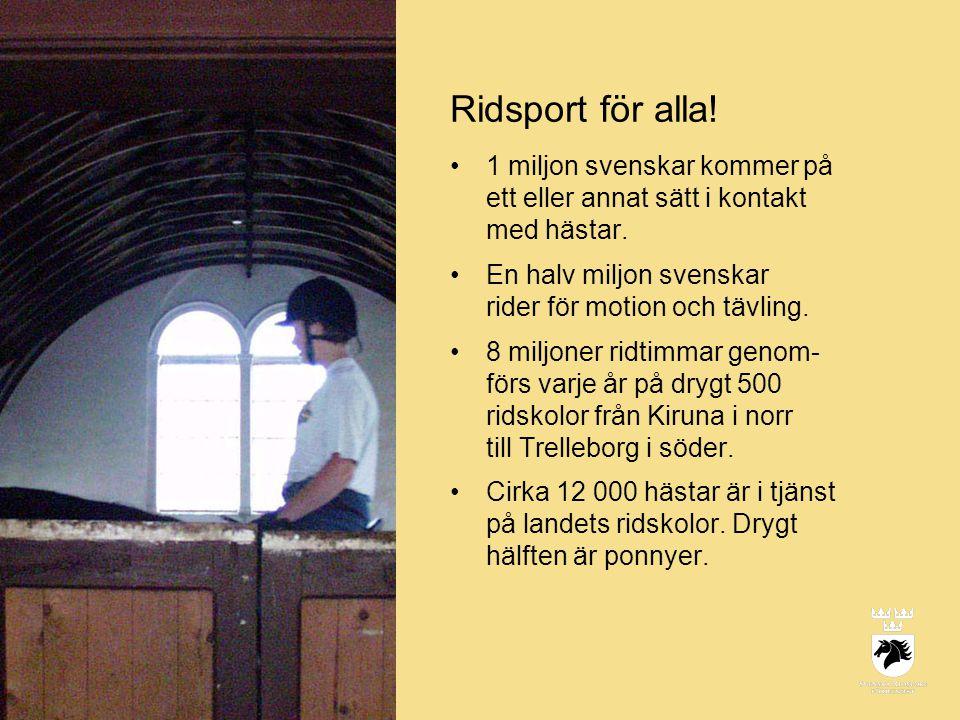 Ridsport för alla! 1 miljon svenskar kommer på ett eller annat sätt i kontakt med hästar. En halv miljon svenskar rider för motion och tävling.
