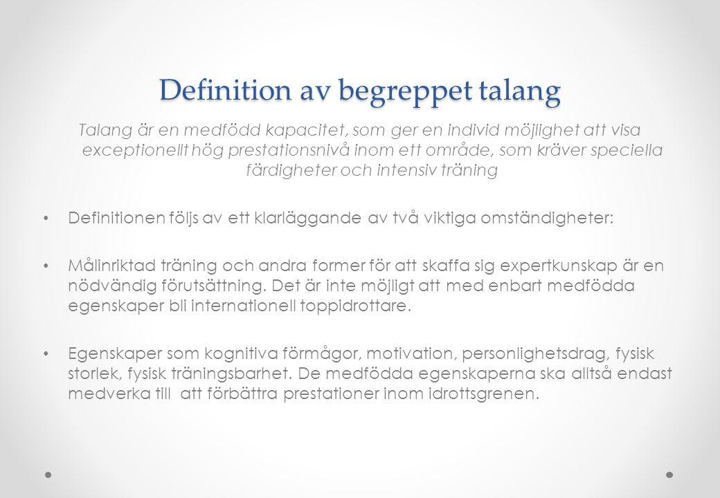 Definition av begreppet talang