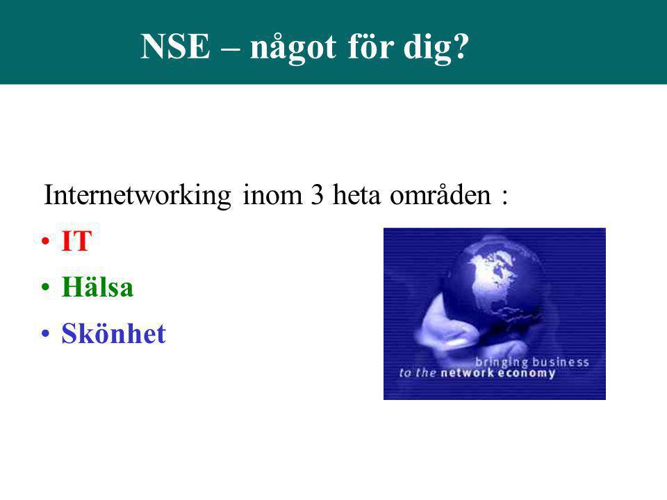 NSE – något för dig Internetworking inom 3 heta områden : IT Hälsa
