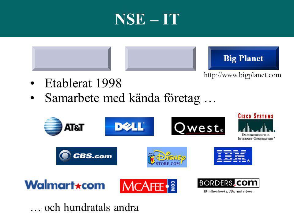 NSE – IT Etablerat 1998 Samarbete med kända företag …