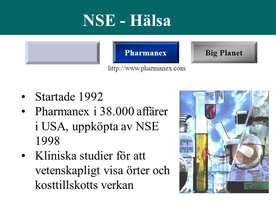 NSE - Hälsa Pharmanex. Big Planet. http://www.pharmanex.com. Startade 1992. Pharmanex i 38.000 affärer i USA, uppköpta av NSE 1998.