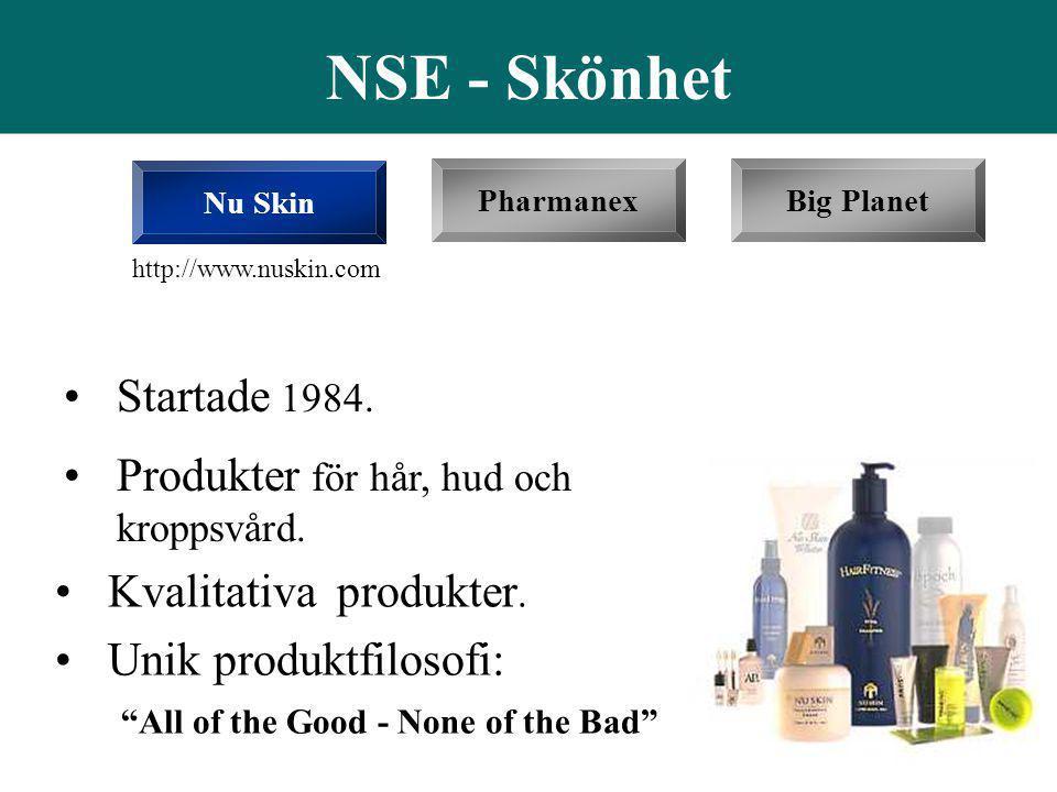 NSE - Skönhet Startade 1984. Produkter för hår, hud och kroppsvård.