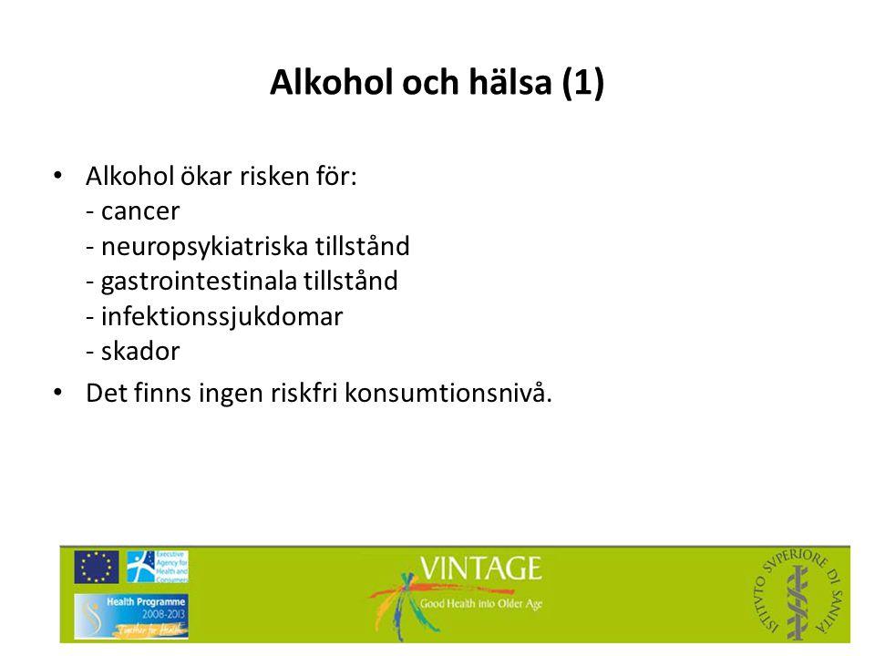 Alkohol och hälsa (1) Alkohol ökar risken för: - cancer - neuropsykiatriska tillstånd - gastrointestinala tillstånd - infektionssjukdomar - skador.