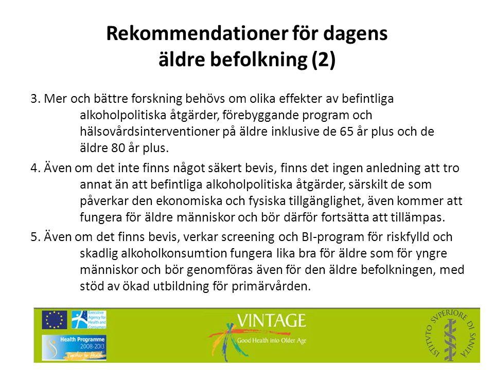 Rekommendationer för dagens äldre befolkning (2)