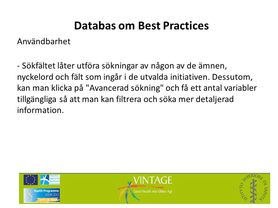 Databas om Best Practices