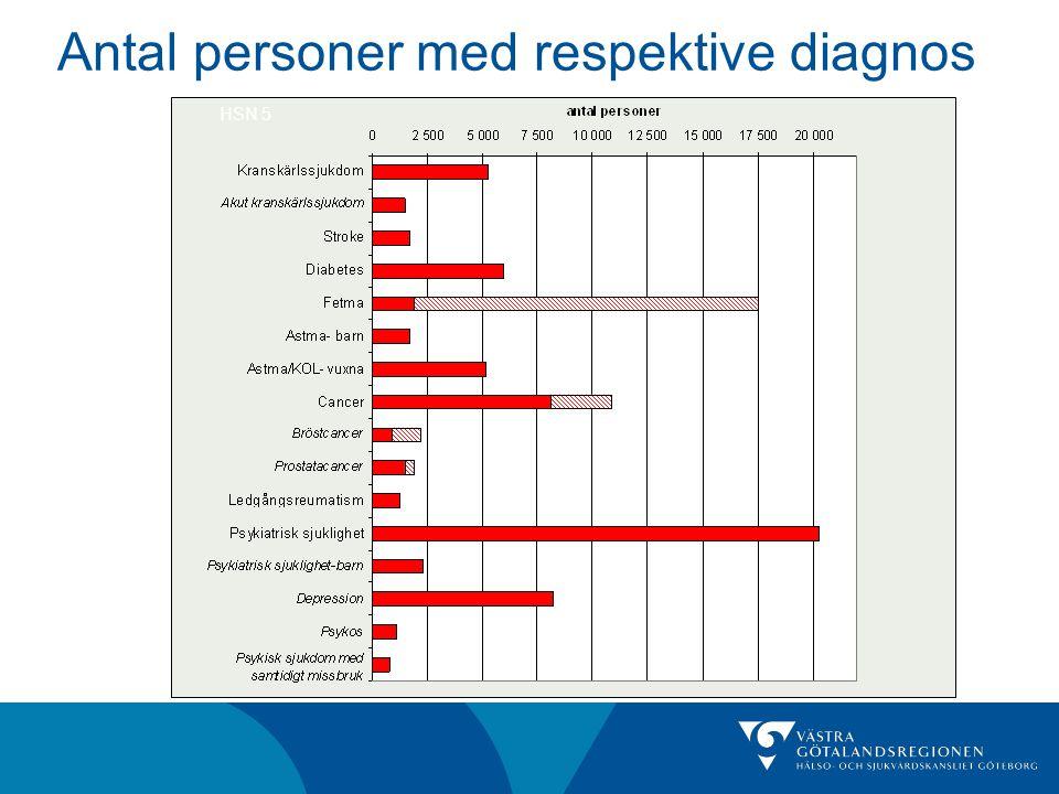 Antal personer med respektive diagnos