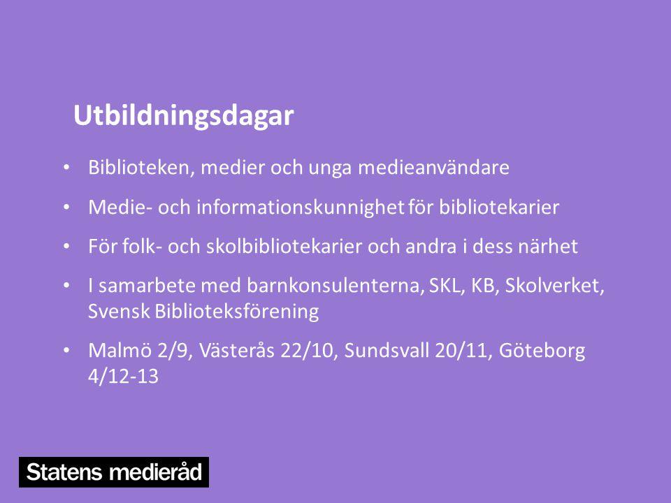 Utbildningsdagar Biblioteken, medier och unga medieanvändare