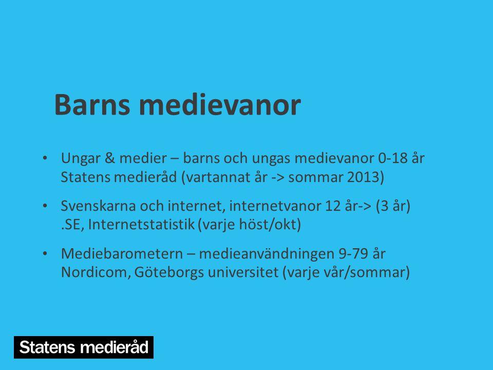 Barns medievanor Ungar & medier – barns och ungas medievanor 0-18 år Statens medieråd (vartannat år -> sommar 2013)