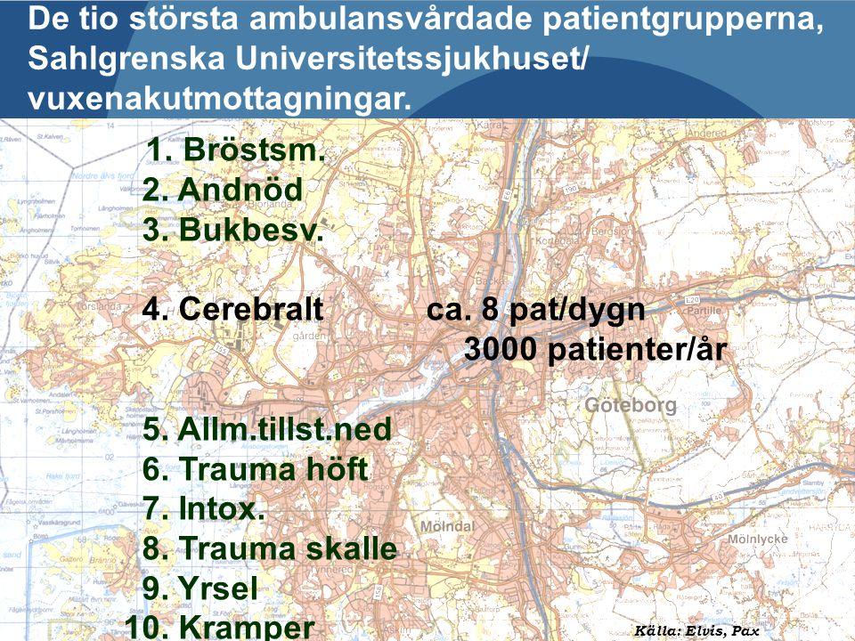 De tio största ambulansvårdade patientgrupperna, Sahlgrenska Universitetssjukhuset/ vuxenakutmottagningar.