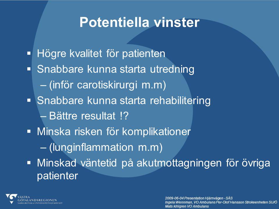 Potentiella vinster Högre kvalitet för patienten