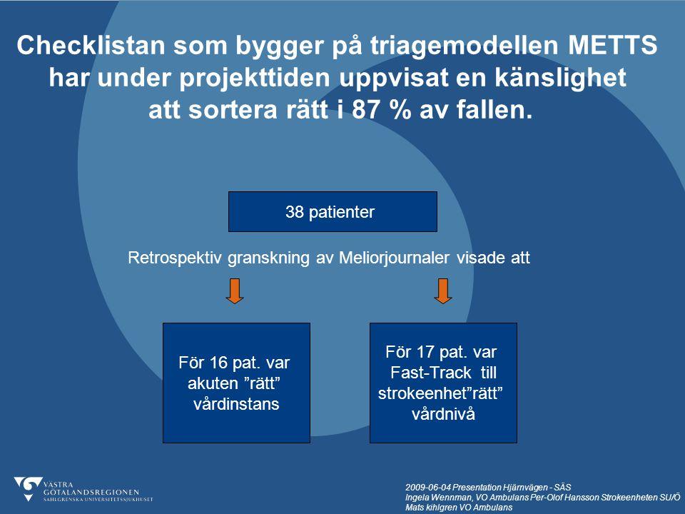 Checklistan som bygger på triagemodellen METTS
