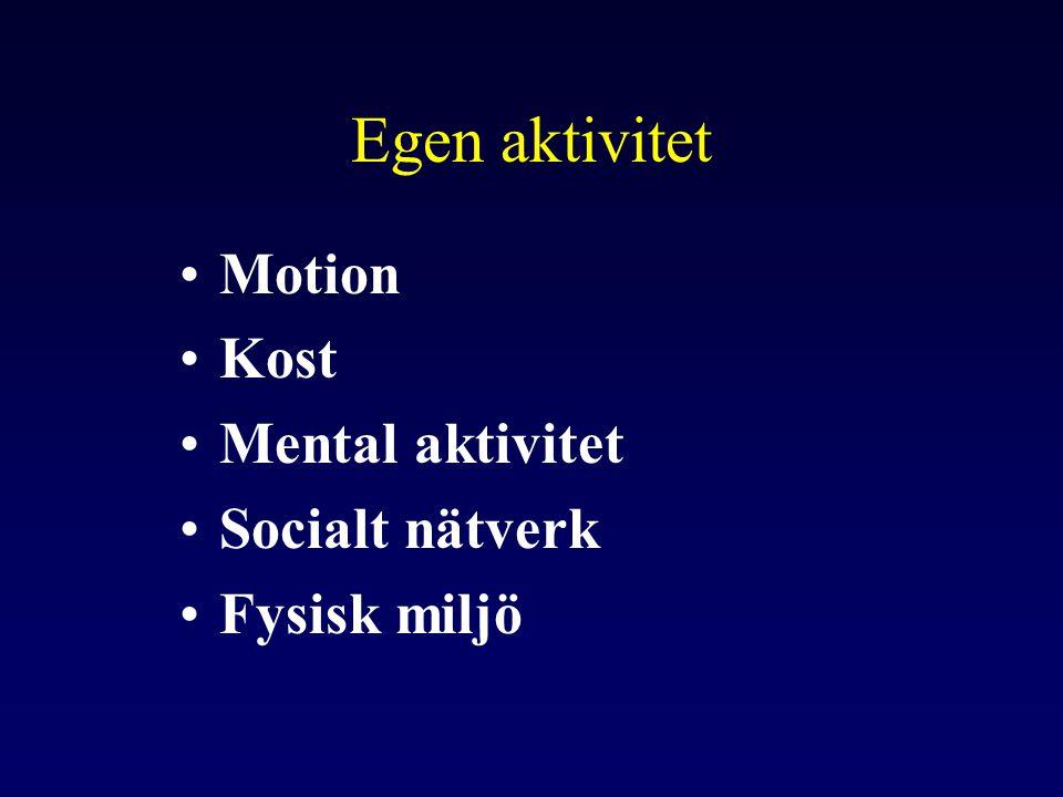 Egen aktivitet Motion Kost Mental aktivitet Socialt nätverk